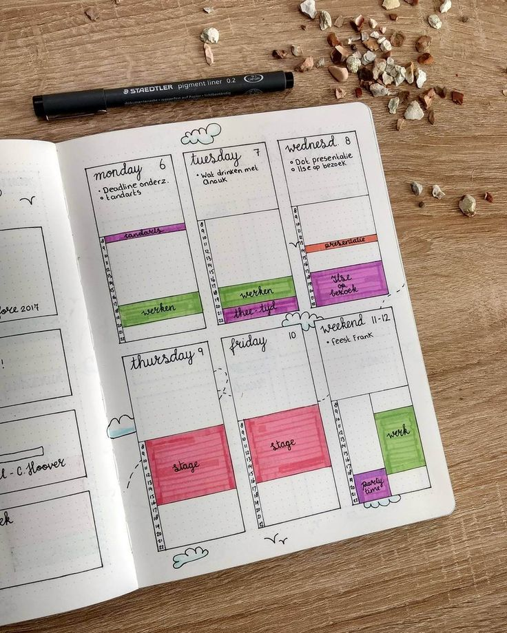 This is the right page of my weekly spread. I combined a task list with a time tracker. All tasks and events has their own color.