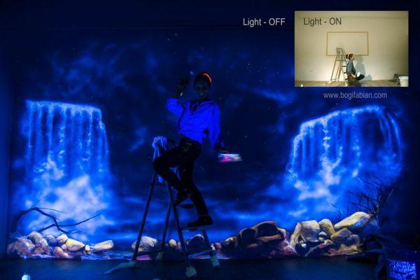Fluoreszierende Farbe - Wandmalerei mit nachtleuchtenden Farben