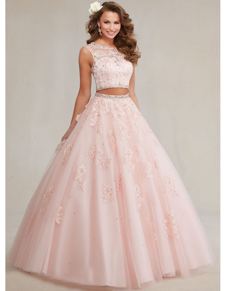 Newest crystal lace royal blue sweet 16 dresses two pieces quinceanera dresses blue masquerade party debut ball gowns YK_061
