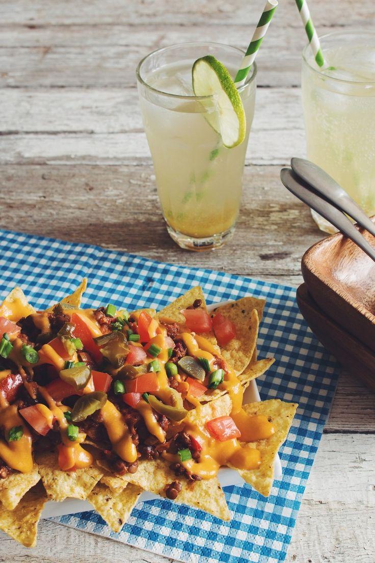 lentil chilli cheese nachos