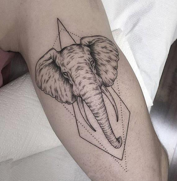 Elefant Tattoo, Temporär Tattoo, Armtattoo, Tattoo auf Zeit, Tattoo Temporary, … – SchwarzWeiße Klebetattoos