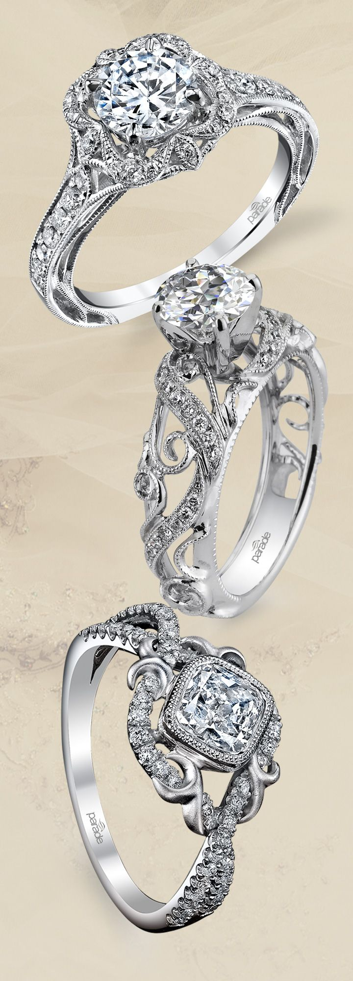 Intricate Engagement Rings From Parade Design Are So Sophisticated! (styles  R3195, R3055 And