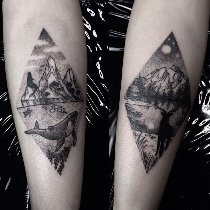landscapes for valentina, thanks for making the trip from cologne! #landscape #tattoo #sea #nature #whale #mermaid #deer #hirsch #forest #cabin #mountains #nature #vegan #nightsky #moon...