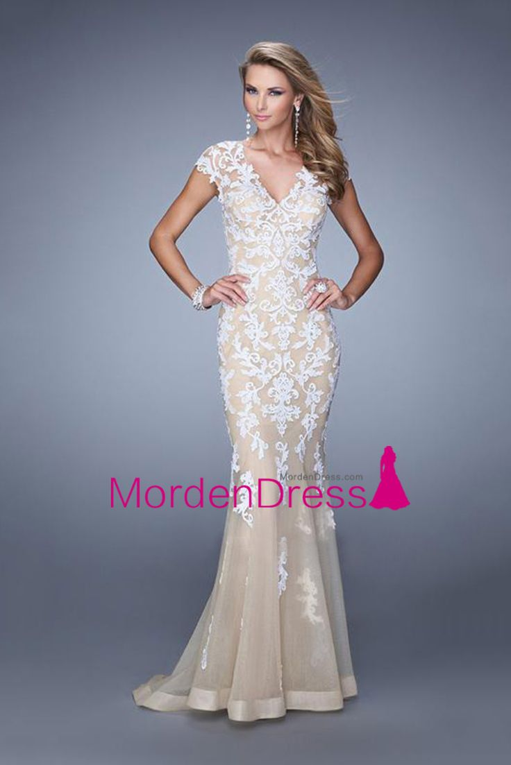 2015 V Neck Prom Dresses Cap Sleeves Sweep Train With White Applique Open Back