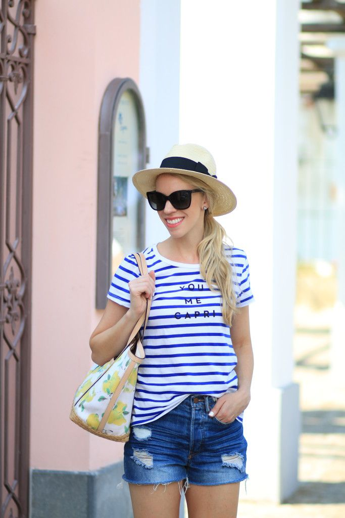 You, Me, Capri: Milly for Kohls striped tee, H&M distressed denim high waist shorts, Kate Spade lemon print tote, fedora outfit, distressed denim shorts outfit, vacation style