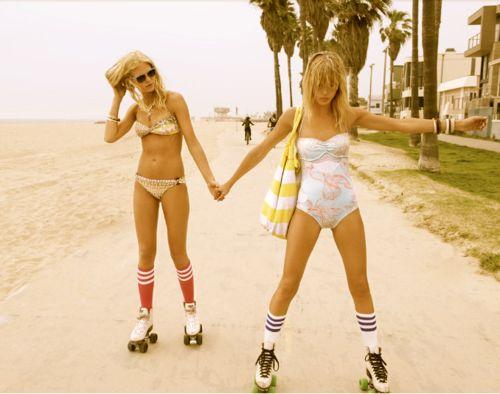 bathing suits and roller skates - retro rockin roller girl - vintage beach roller skate diva