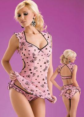 Attractive Pink Heart Spandex Women Babydoll AF6208 16$