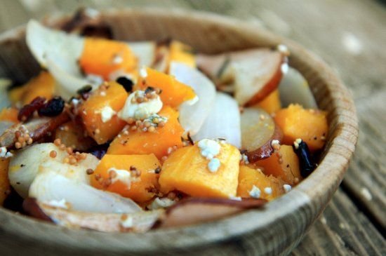 Roasted Butternut Squash, Pears and Onions with Blue Cheese