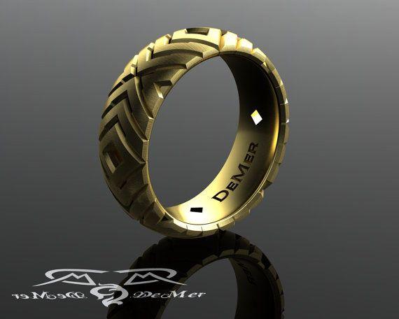 Chevron arrow wedding band in 14kt yellow gold. by DeMerJewelry