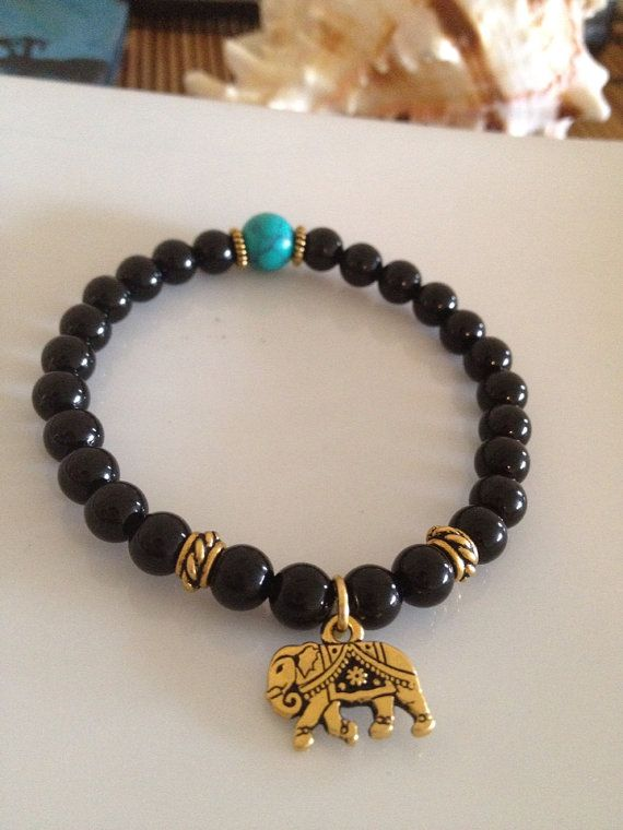 Black Onyx & Turquoise Elephant Bracelet by TheArtsyNomad on Etsy, $16.00
