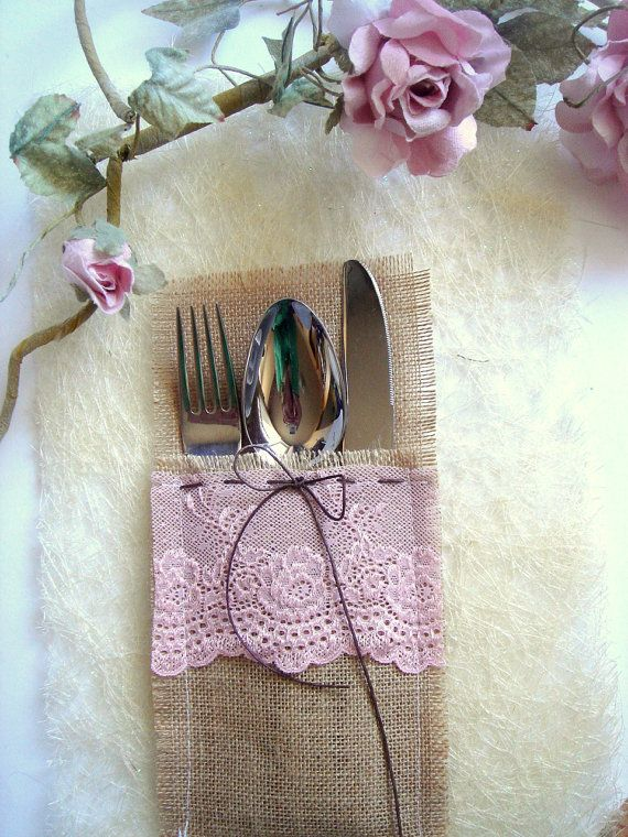 Burlap Flatware holders for weddings Wedding Table by accessory8