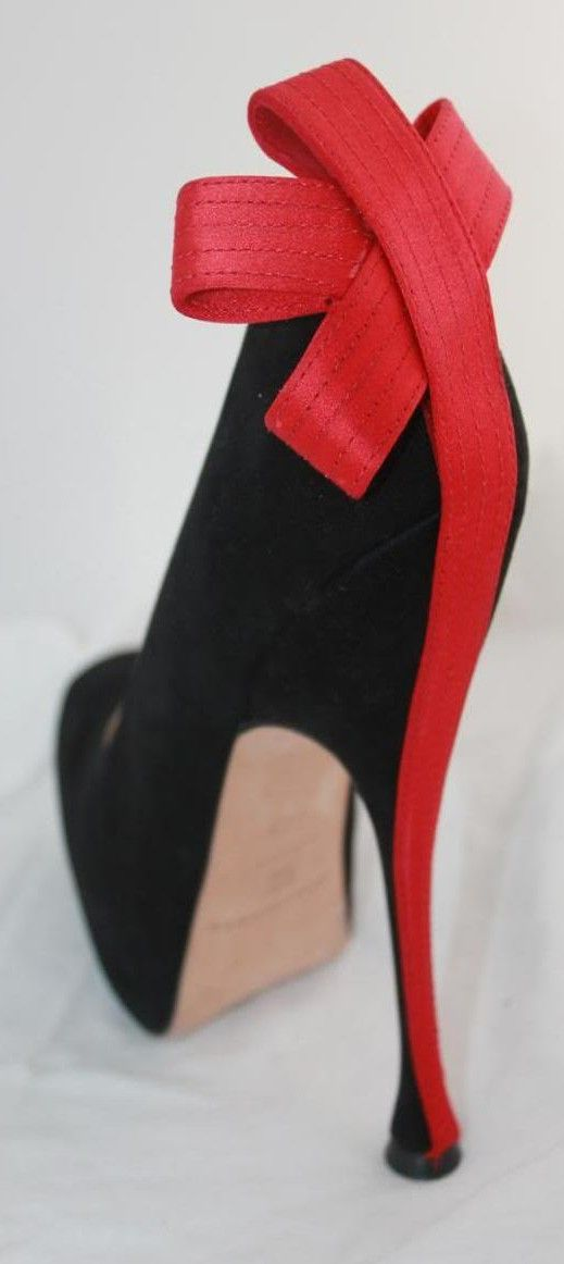 Brian Atwood ~ Black Suede Heel Trimmed in Red