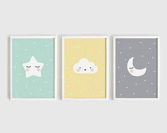 Sternwolke Mond Baby Zimmer Dekor Druckbare Kinderzimmer Kunst Set