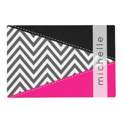 Your Name - Zigzag Pattern Chevron - Gray Pink Placemat - kitchen gifts diy ideas decor special unique individual customized