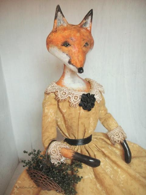 Sophia  A red fox Art Doll done in Queen Anne Style.