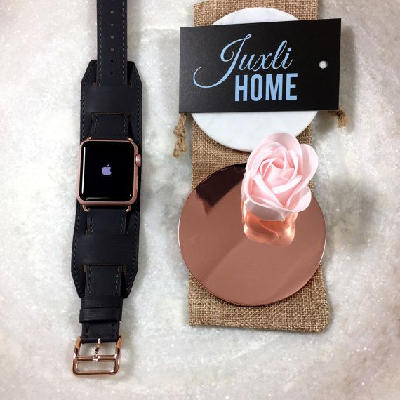Dark Gray Apple Watch Band, 42mm or 38mm Apple Watch Cuff, Apple Watch Band, Apple Watch Strap, Apple Watch Sport Band, Apple Band Rose Gold