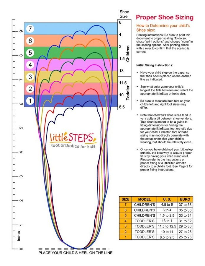 Printable Shoe Size Chart | Activity Shelter