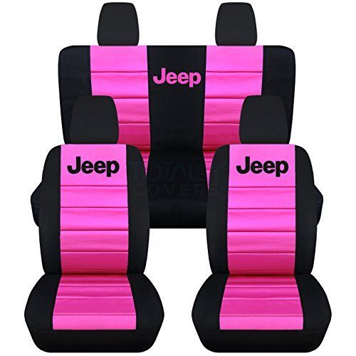 Jeep Wrangler JK (2011 to 2016) 2-Tone Seat Covers with Jeep: Black and Hot Pink - Full Set (22 Colors Available) Designcovers