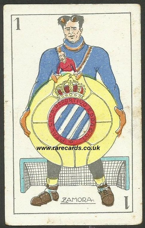Ricardo Zamora, mid-1920's playing card, Spain