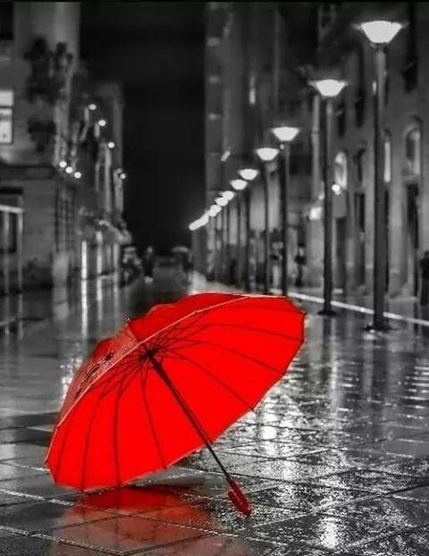 Parapluie rouge abandonné sous la pluie