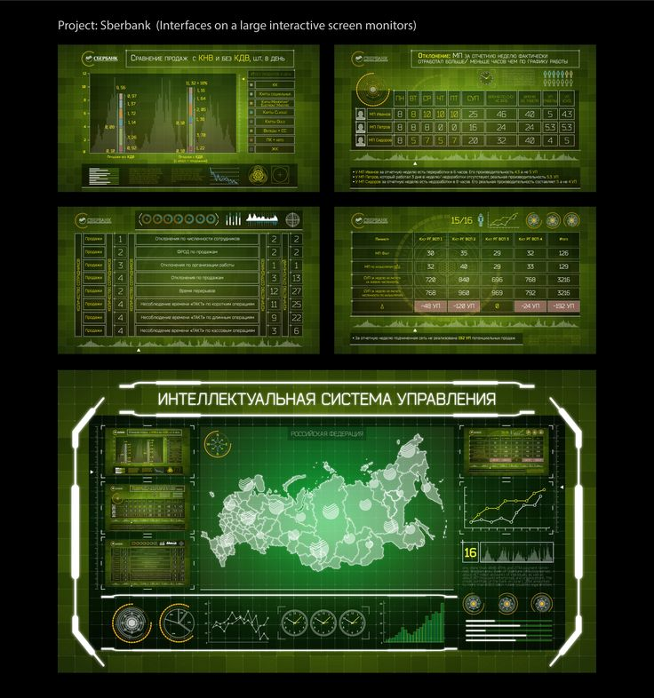 Sberbank: interfaces on a large interactive screen monitors