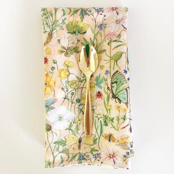 Linen/Cotton Table Napkins Original Watercolour Buttercups