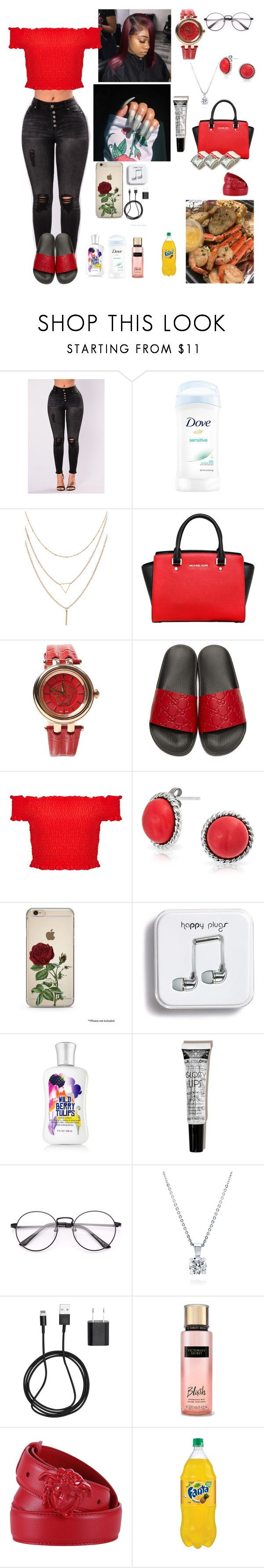 """Monday 9/11/17 going shopping "" by aleciadowdemll ❤ liked on Polyvore featuring MICHAEL Michael Kors, Versace, Gucci, Miss Selfridge, Bling Jewelry, Theory, BERRICLE, PhunkeeTree and Victoria's Secret"
