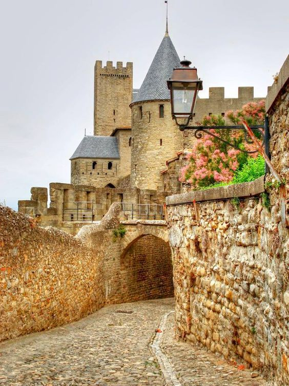 A medieval castle in Carcassonne, France.
