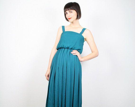 Vintage Teal Green Dress Emerald Green Dress by ShopTwitchVintage, $38.00