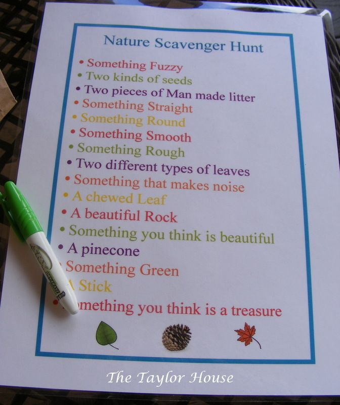 Outdoor scavenger hunt     http://www.thetaylor-house.com/2012/03/nature-scavenger-hunt-for-kids.html