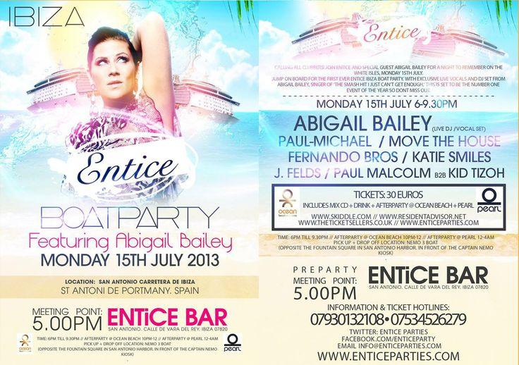 #Entice #Ibiza #BoatParty #DJs #AbigailBailey #FernandoBros #PaulMichael #MoveTheHouse #KatieSmiles #J.Fields #PaulMalcom #KidTizoh