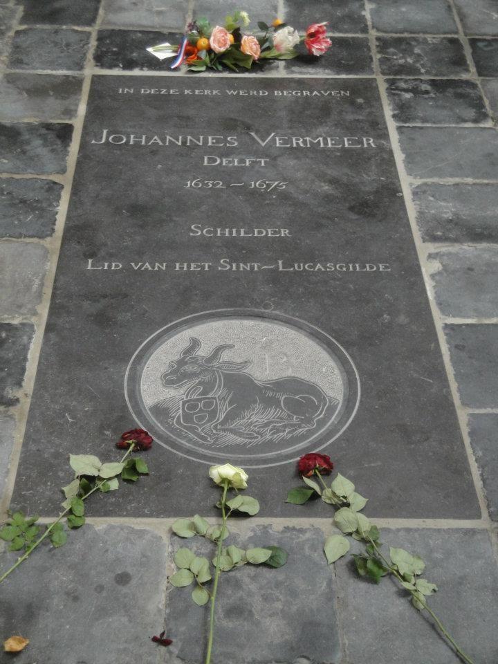 Delft, Vermeer's grafsteen in de Oude Kerk.