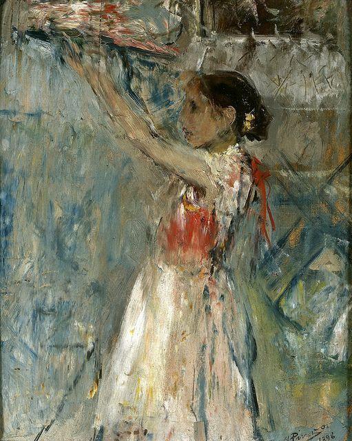 Pinazo Camarlench , Ignacio (Spanish, 1849-1916) -- Продавщица цветов, 1898, 30 см x 24 см, панель, масло