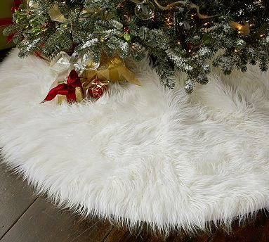 Faux Fur Tree Skirt...from Pottery Barn....I love this...so classy and simple. could totally DIY this one