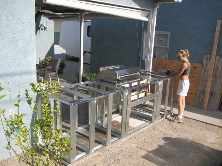 Resplendent Outdoor Kitchen Frame Plans With Minimalist Prefab Steel Stud Out