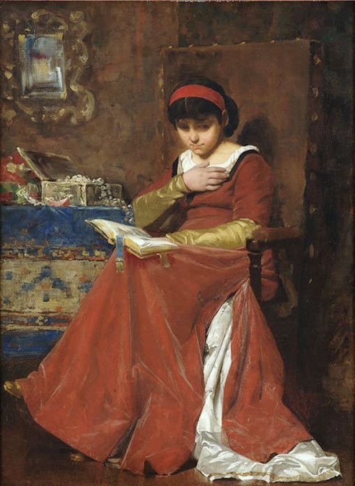 Munkácsy, Mihály (b,1844)- Woman w Prayer Book (& Open Jewelry Box)
