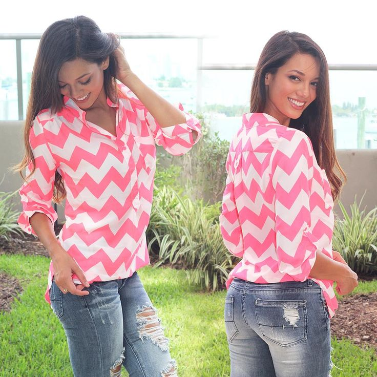 And our best selling chevron shirt is finally BACK! You'll go CRAZY for this one! If you love chevron you NEED this new top! Sweet and simple, this neon coral and white chevron top goes with everything . Check out other cute tops at our trendy online boutique!
