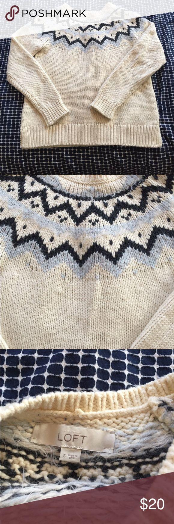 Loft Fairisle Sweater size small Loft Fairisle sweater small. Chunky knit with No marks and only worn twice. LOFT Sweaters Crew & Scoop Necks