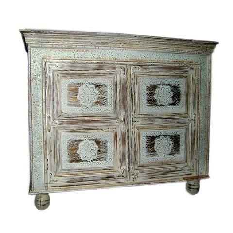 Wooden and Brass Distress Side Board With Storage - FOLKBRIDGE.COM   Buy Gifts. Indian Handicrafts. Home Decorations.