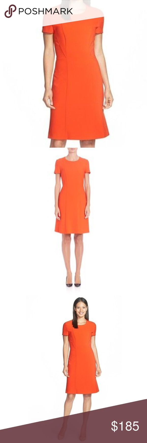 """Hugo Boss Dress Hugo Boss """"Dapena"""", Smooth, figure-flattering ponte shapes this short-sleeve silhouette, accented with sleek seam detailing and a slightly flared skirt. Roundneck. Concealed back zip. Seam detailing. Slightly flared skirt. Fitted silhouette. Lined. About 38.5"""" from shoulder to hem. Polyester/viscose/cotton/elastane. Dry clean. Imported. Model shown is 5'10"""" (177cm). Vibrant 🍅 tomato orange. Never Worn Hugo Boss Dresses Midi"""
