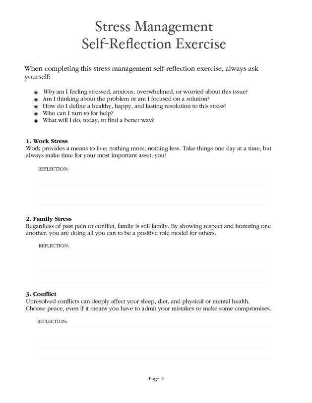 Stress Management Worksheet - PDF