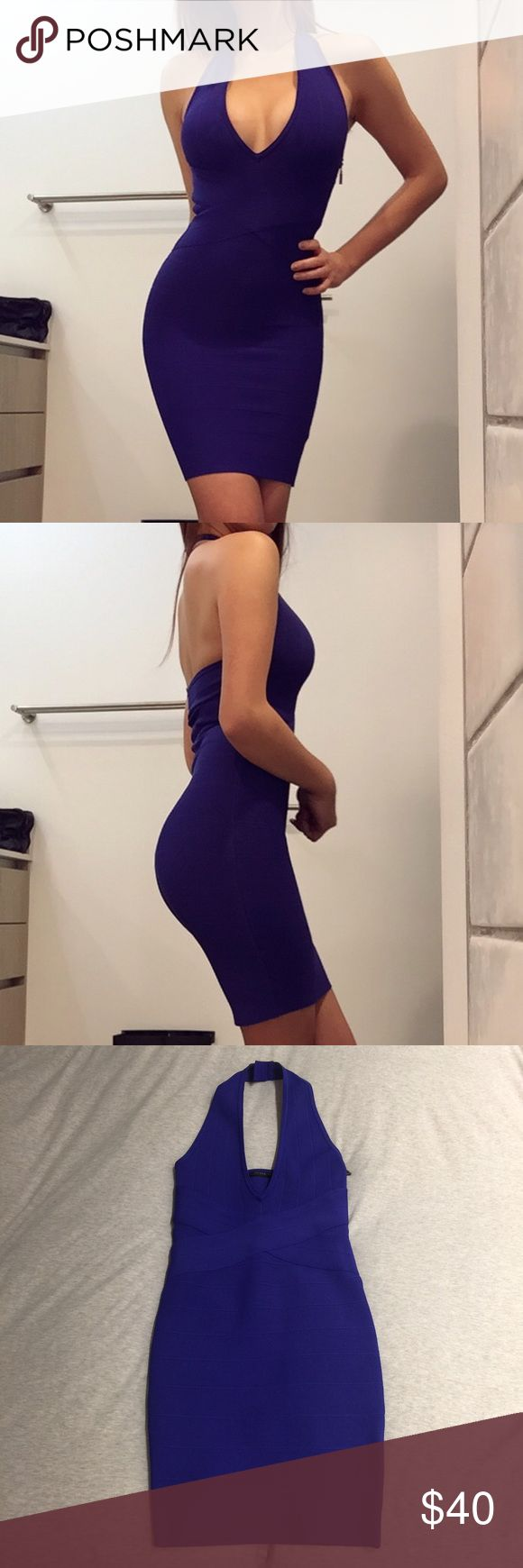 Guess purple bandage bodycon dress super tight and snug to tuck and smooth everything in but super stretchy and stays in place! still in like new condition, only worn once Guess Dresses Midi