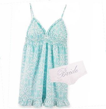 Can you believe how cute this cotton Something Blue Babydoll Bride Sleep Set is--it's just $29.99!! The perfect Bridal Shower Gift, Lingerie Shower Gift or Bachelorette Party Gift, it's available exclusively at The House of Bachelorette! #BridalShowerGift #LingerieShowerGift #BrideGift