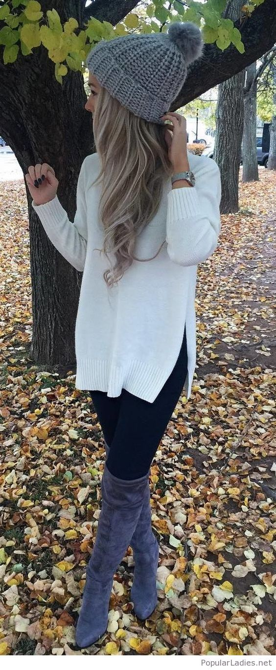 5878d6c97b9fce White sweater, leggings and more | fashion | Fall outfits, Fashion ...