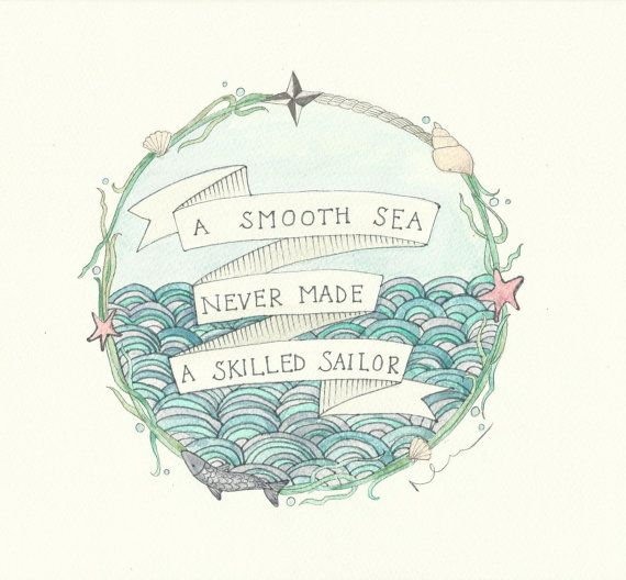 Sea Quote Waves Original Watercolour by FeatherAndSixpence on Etsy
