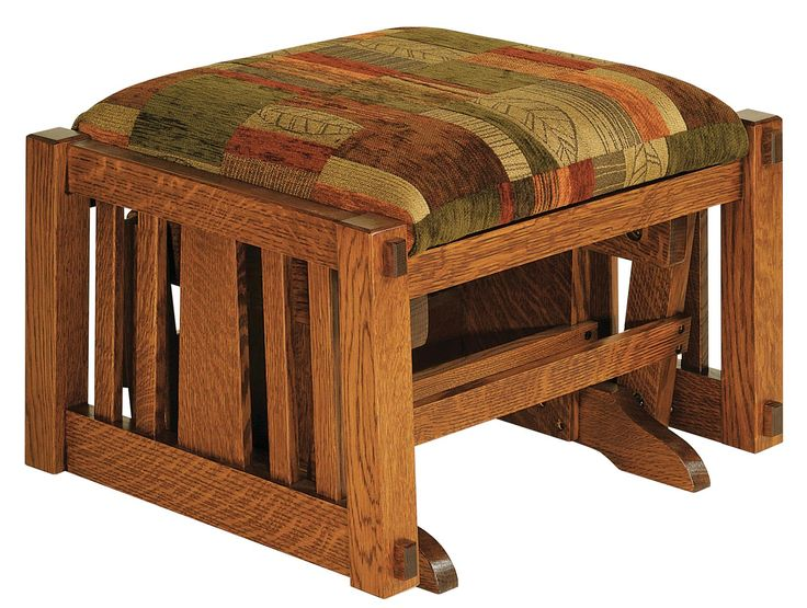 Amish McCoy Glider Ottoman Add visual appeal, lovely mission style and a favorite comfort tool to your living room furniture collection with the McCoy Glider Ottoman.