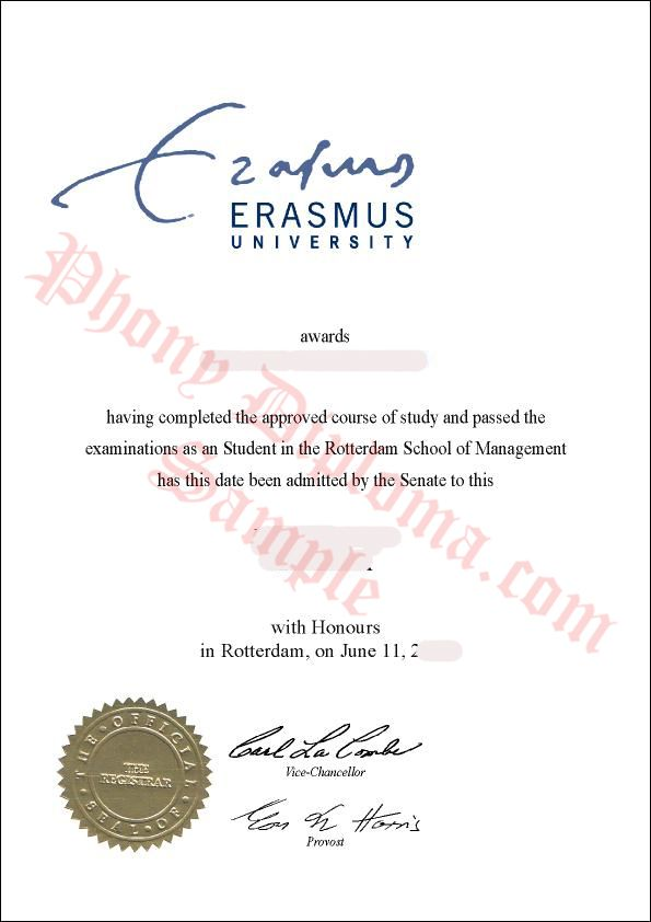 Erasmus Fake Netherlands University Diploma from PhonyDiploma - http://www.phonydiploma.com/Departments/Samples/Fake-Diploma-Samples-from-Netherlands.aspx