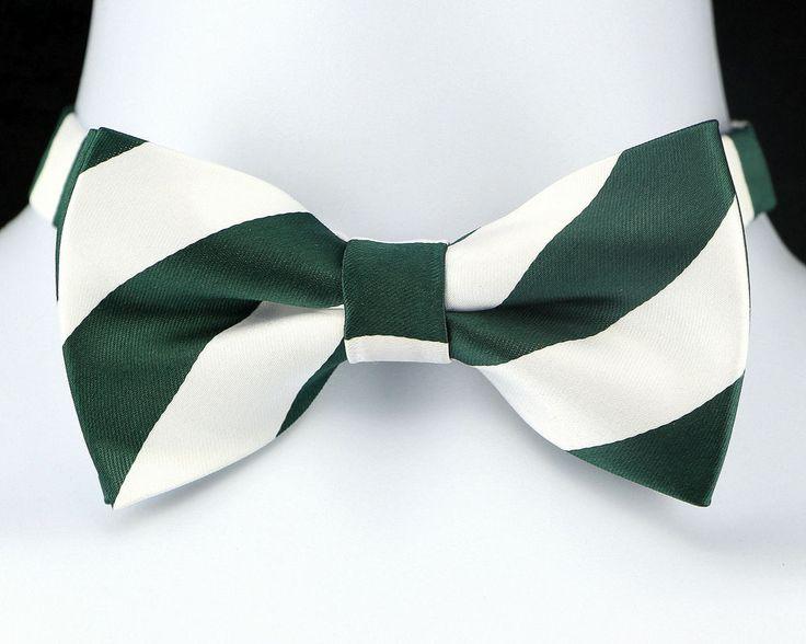 Green & White Striped Mens Bow Tie Adjustable Wedding Frat Tuxedo Gift Him New  #TiesJustForYou #BowTie