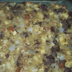 This quick and delicious oyster and cornbread dressing takes the fuss and the mess out of the picture.  It is all done on the stove top, and tastes like it has been cooking in the oven all day!