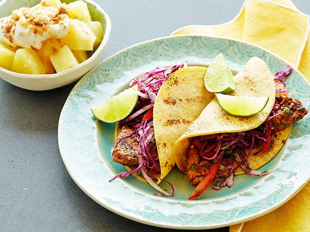 Grilled Chipotle Pork Tacos with Red Slaw and Brown Sugar Pineapple #myplate #letsmove #protein #grain #veggies #fruitRed Slaw, Food Network, Grilled Chipotle, Pineapple Recipes, Brown Sugar, Pork Tacos, Network Kitchens, Sugar Pineapple, Chipotle Pork
